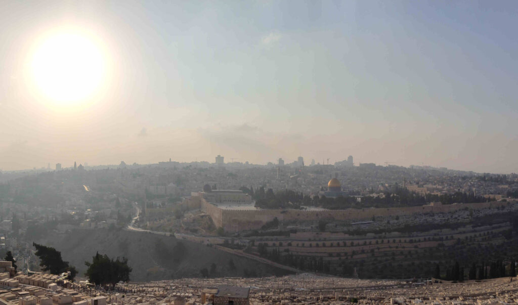 View from the Mount of Olives to the temple in Jerusalem Photo (c) Steffen Buerger