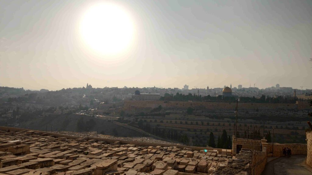 View from the Mount of Olives to the temple in Jerusalem - Photo October 2019 (c) Steffen Buerger